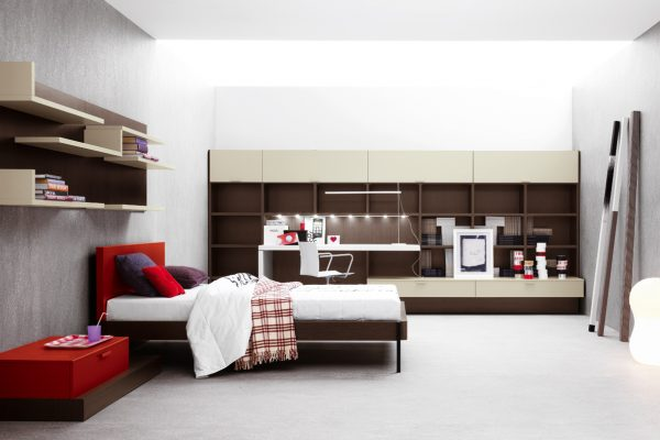 Fabulous Bedroom Modern Furniture Grey Wall Minimalist Bookshelf